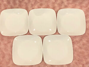 Vintage Corelle Square White Appetizer/Bread & Butter Plates Set of 5 NW/OB