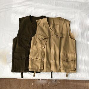 Women Men's Waistcoat Cotton Pocket Sleeveless Cargo Top Gilet Vest Casual Retro