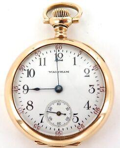 .1904 LADY WALTHAM 0S 16J POCKET WATCH WITH 14K GOLD CASE