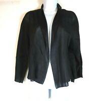 Eileen Fisher Open front top Linen Silk blend Black Lightweight womens Sz Medium