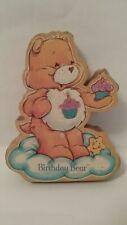 "1984 Care Bears Birthday Bear 4"" Wood Figurine American Greetings"