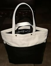 d3d2610a21d28 ELIZABETH AND JAMES Two Tone Black & Natural Canvas Off White Signed Tote  Bag