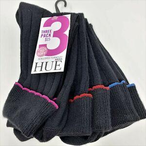 Hue 3 Pack Scalloped Turncuff Crew Socks, Women's One Size Black Style U21179