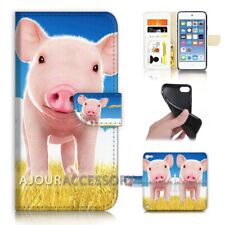 ( For iPod Touch 6 ) Wallet Flip Case Cover AJ21734 Cute Baby Pig