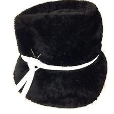 Vintage Mr. John Cloche Hat Black Faux Fur Mod 1960s Italy