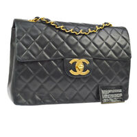 Auth CHANEL Jumbo Quilted CC Double Chain Shoulder Bag Black Leather VTG K08219c