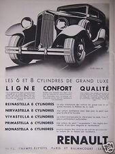 PUBLICITÉ 1930 VOITURE RENAULT REINASTELLA 8 CYLINDRES NERVASTELLA - ADVERTISING