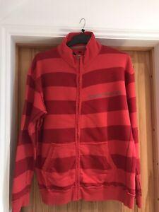"Mens Red Striped Zip Up Sweatshirt top Jacket XL 50"" Chest"