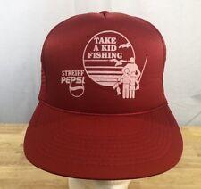 b4cfe705cc5 Vintage Pepsi Take A Kid Fishing Trucker Mesh Snapback Hat Cap Red