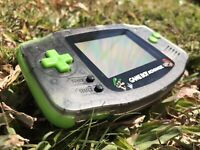 Nintendo Gameboy Advance GBA Clear Black Green Handheld Gaming Console Mario