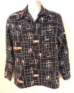 Vtg Mr Jan Polyester Brown Button Shirt Mens M Geometric 70s Disco Long Sleeve