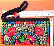 Thai Hmong Ethnic Tribal Embroidered Wrist Bag Bohemian Handmade Flowers