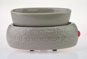 Colonial Candle Ceramic Essential Scented Oil Burner / Wax Warmer Electric Grey