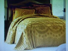 New KING Size Bedspread & Shams *** Chenille Solid Gold