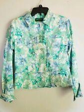 Lemon Grass Women's 3/4 Length Sleeve Multicolored Floral Hawaii Linen   Top S