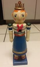 "12"" Blue Dress Queen Nutcracker Christmas Wooden Holiday Decoration Girl Vintage"