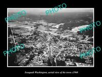 OLD POSTCARD SIZE PHOTO OF ISSAQUAH WASHINGTON AERIAL VIEW OF THE TOWN c1960 1