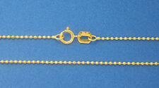 "14K Solid Yellow Gold 1mm Diamond Cut Ball / Bead Chain 30"" 2.8gr Italian Made"