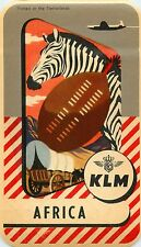 KLM AIRLINE to AFRICA - Beautiful Old Luggage Label, c. 1955