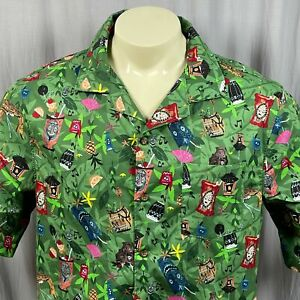 Disney Polynesian Resort Trader Sam's Grog Grotto Tiki Bar Hawaiian Shirt Medium