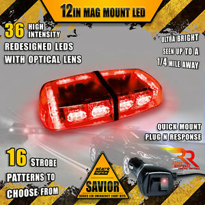 36 LED Light Bar Top Beacon Magnetic Flashing Hazard Roof Emergency Strobe RED A