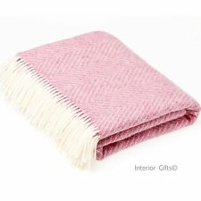 BRONTE HERRINGBONE PALE PINK THROW Pure New Shetland Wool Blanket Rug Bed GIFT