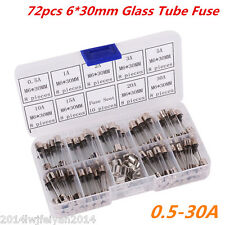 72pc 6*30mm Fast Quick Blow Glass Tube Fuse Car Electrical Assorted Kit 0.5A-30A