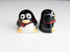 4 x 3D Porcelain Ceramic Penguin Beads 16mm x 14mm Black Christmas Festive (OB26
