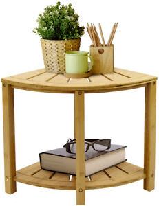 Sorbus Corner Shower Bench Stool with Shelf - 2-Tier Waterproof Bamboo Seat