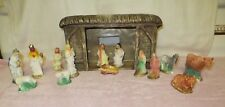 "Vintage ""Doc"" Holiday Molds Ceramic Nativity Manger Stable & 14 Plaster Pieces"