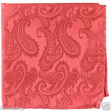 New Brand Q Men's  micro fiber Pocket Square Hankie Only paisley Coral prom