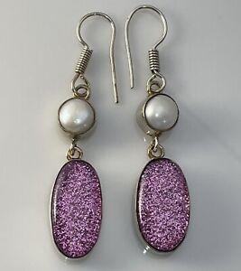 925 Sterling Silver Pearl Large Earrings