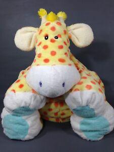 "First & Main Giraffe Large Plush Yellow Orange Polka Dots Cream Puff Pillow 18"""