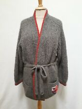 Veste à ceinturer pull ANNY BLATT laine T.42/44 VINTAGE Knitted jacket L/XL