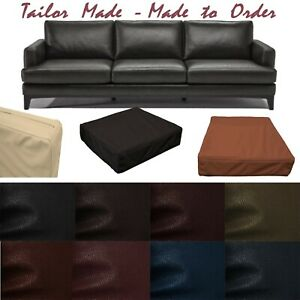 Tailor Made*Cover Only*Faux Leather Skin Box Square Sofa Seat Bench Cushion Pb2