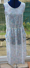 C & A pretty white pink blue flowered tea dress short sleeve size 10 to 12