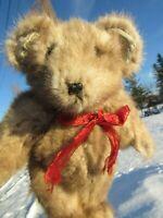 """VINTAGE TEDDY BEAR 15"""" REAL FUR CHRISTMAS GIFT MCBEARSKY OOAK ARTIST MINK ? COAT"""