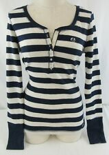 Aeropostale Women's Navy & White Striped Stretch Long Sleeve Shirt New With Tags