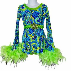 A Wish Come True Dance Costume Girl Power Dynamite Boa Youth SZ MC Blue 70s
