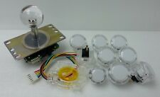 Japan Sanwa Clear Joystick & Buttons & Start & GT-Y White Set of 9 Arcade Parts