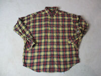 Orvis Button Up Shirt Adult Large Brown Red Plaid Long Sleeve Outdoors Mens