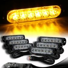 6X Super Bright 6-LED Amber Car Emergency Flash Beacon Strobe Lights Universal 4