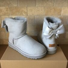 UGG MINI BAILEY BOW II GLAM GREY VIOLET ANKLE BOOTS BOOTIES SIZE US 6 WOMENS