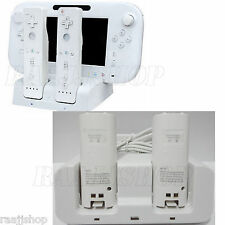 WHITE DUAL DOCKING STATION + 2x BATTERIES + CABLE FOR WII & WII U REMOTE GAMEPAD