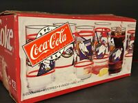 (1) SET OF 8 GLASSES COCA COLA COKE POLAR BEARS WINTER SPORTS MADE IN USA