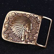 Vintage Solid Brass Men's Belt Buckle Indians Western Cowboy