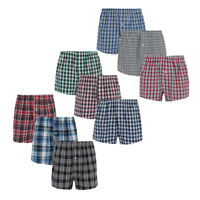 Mens Woven Checked Boxers 3 Multi-Pack Cotton Breathable Loose Fit Underwear