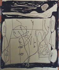 """""""BAIN DE SOLEIL"""" Encre et crayon noir sur papier (signature non traduite)"""