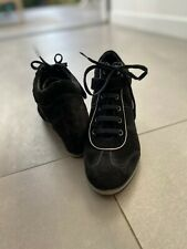 GEOX RESPIRA ILLUSION oiled black suede high wedge trainer size 6UK, hardly worn