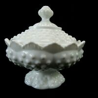 VINTAGE Fenton Hobnail White Milk Glass Compote Pedestal Candy Dish & Crown Lid